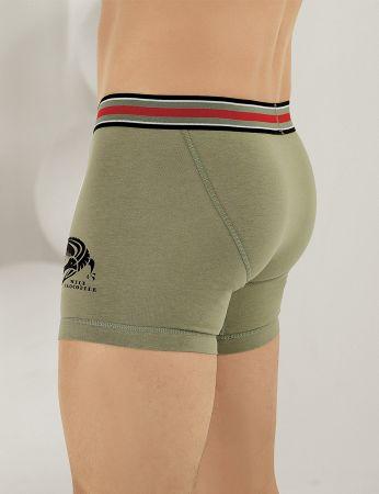 Sahinler Lycra Boxer-Short mit Krokodil-Aufdruck Safari-grün ME110