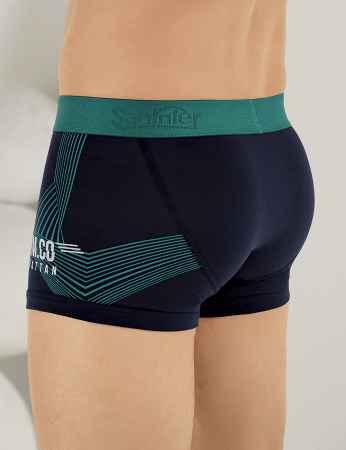 Sahinler Lycra Boxer-Short mit Segel-Aufdruck Marineblau ME107 - Thumbnail