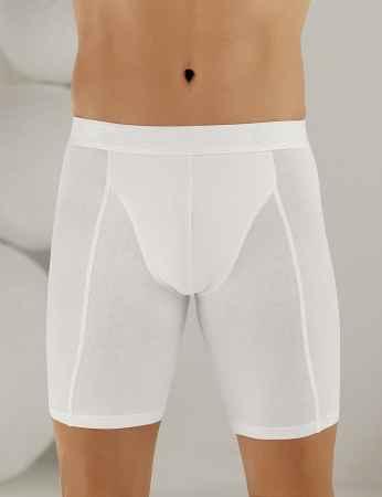 Şahinler Lycra Long Men Boxer White ME114 - Thumbnail
