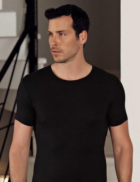 Şahinler - Şahinler Lycra Modal Short Sleeve Men Singlet Black ME118