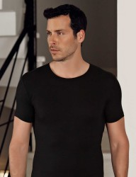 Şahinler Lycra Modal Short Sleeve Men Singlet Black ME118 - Thumbnail