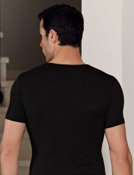 Şahinler - Şahinler Lycra Modal Short Sleeve Men Singlet Black ME118 (1)