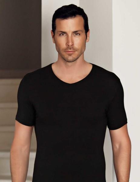 Şahinler - Şahinler Lycra Modal Short Sleeve Men Singlet Black ME119