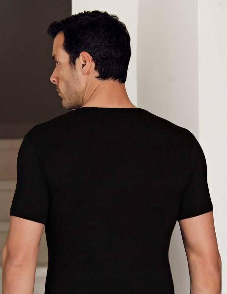 Şahinler - Şahinler Lycra Modal Short Sleeve Men Singlet Black ME119 (1)