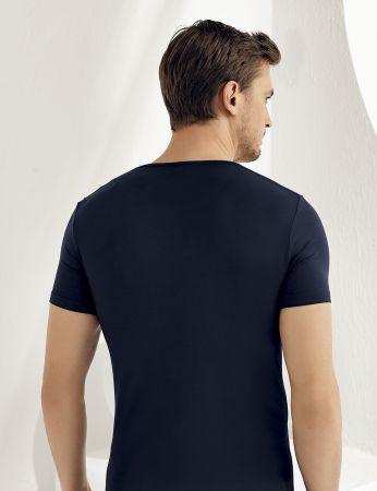 Şahinler - Şahinler Lycra Modal Short Sleeve Men Singlet Dark Blue ME118 (1)