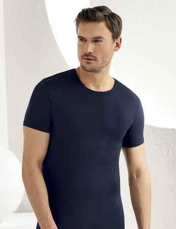 Şahinler Lycra Modal Short Sleeve Men Singlet Dark Blue ME118 - Thumbnail