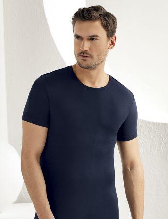 Şahinler Lycra Modal Short Sleeve Men Singlet Dark Blue ME118