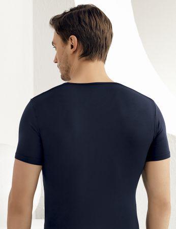 Şahinler - Şahinler Lycra Modal Short Sleeve Men Singlet Dark Blue ME119 (1)