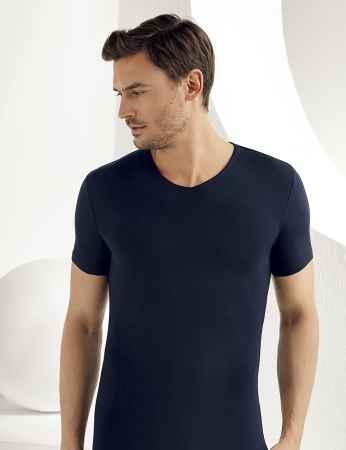 Şahinler Lycra Modal Short Sleeve Men Singlet Dark Blue ME119 - Thumbnail
