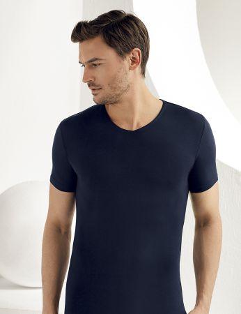 Şahinler Lycra Modal Short Sleeve Men Singlet Dark Blue ME119