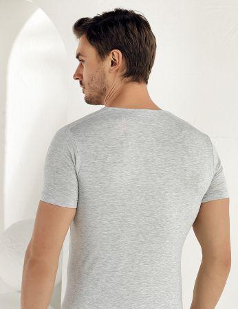 Şahinler - Şahinler Lycra Modal Short Sleeve Men Singlet Grey ME118 (1)
