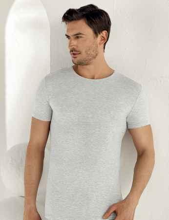 Şahinler Lycra Modal Short Sleeve Men Singlet Grey ME118 - Thumbnail