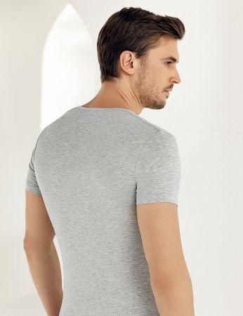 Şahinler - Şahinler Lycra Modal Short Sleeve Men Singlet Grey ME119 (1)