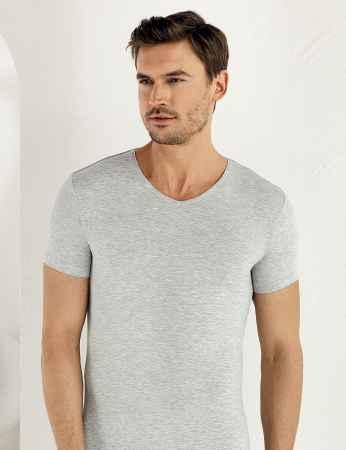 Şahinler Lycra Modal Short Sleeve Men Singlet Grey ME119 - Thumbnail