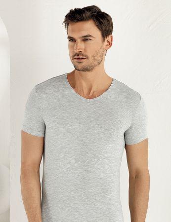 Şahinler Lycra Modal Short Sleeve Men Singlet Grey ME119