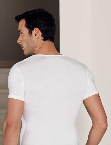 Şahinler - Şahinler Lycra Modal Short Sleeve Men Singlet White ME118 (1)