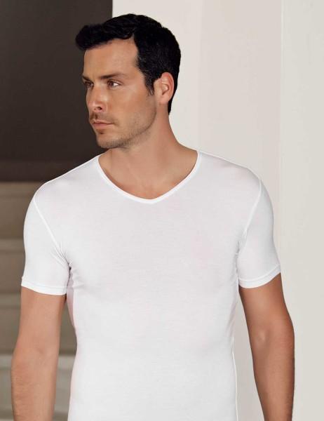 Şahinler - Şahinler Lycra Modal Short Sleeve Men Singlet White ME119
