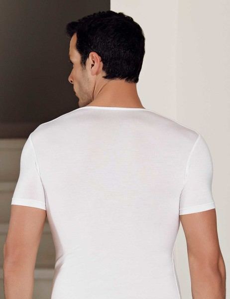 Şahinler - Şahinler Lycra Modal Short Sleeve Men Singlet White ME119 (1)