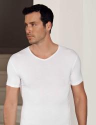 Şahinler Lycra Modal Short Sleeve Men Singlet White ME119 - Thumbnail