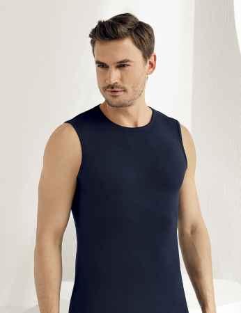 Şahinler Lycra Modal Sleeveless Men Singlet Dark Blue ME116 - Thumbnail