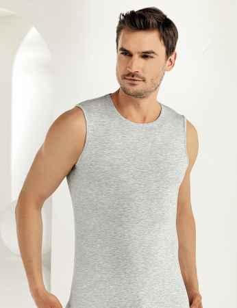 Şahinler Lycra Modal Sleeveless Men Singlet Grey ME116 - Thumbnail