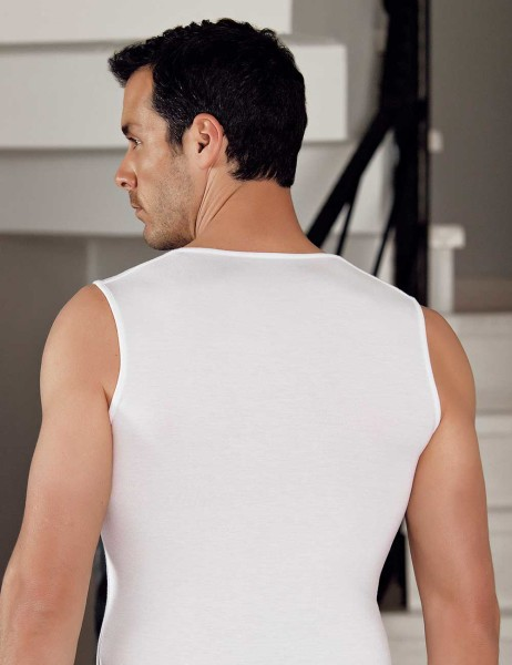 Şahinler - Şahinler Lycra Modal Sleeveless Men Singlet White ME116 (1)