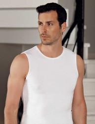 Şahinler Lycra Modal Sleeveless Men Singlet White ME116 - Thumbnail