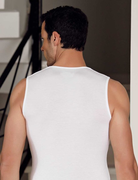Şahinler - Şahinler Lycra Modal Sport Men Singlet White ME117 (1)