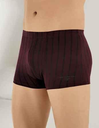 Şahinler Lycra Modal Stripe Men Boxer Bordeaux ME123 - Thumbnail