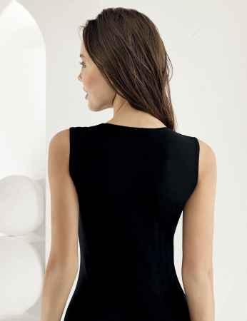 Sahinler Lycra Oberhemd ohne Ärmel schwarz MB486 - Thumbnail