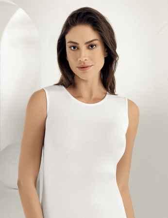 Sahinler Lycra Oberhemd ohne Ärmel weiß MB486 - Thumbnail