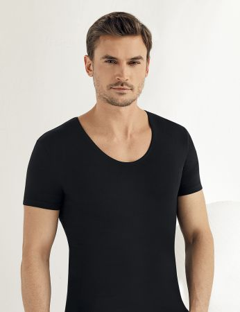 Sahinler Lycra Supreme Singlet Short Sleeve Black ME085