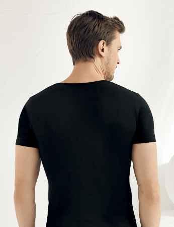 SahinLer Lycra Supreme Singlet Short Sleeve V Neck Black ME081 - Thumbnail