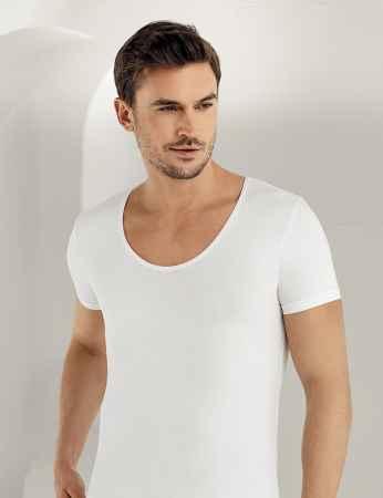 Sahinler Lycra Supreme Singlet Short Sleeve White ME084 - Thumbnail