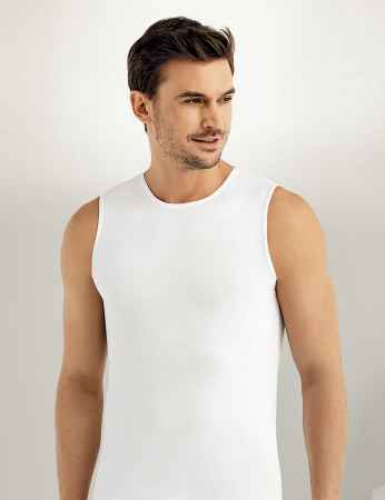 Sahinler Lycra Supreme Singlet Sleeveless White ME076 - Thumbnail