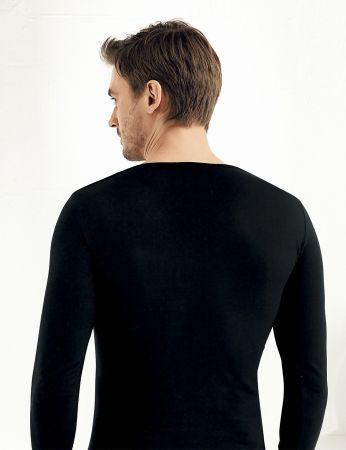 Sahinler Lycra Supreme Singlet V Neck Long Sleeve Black ME075