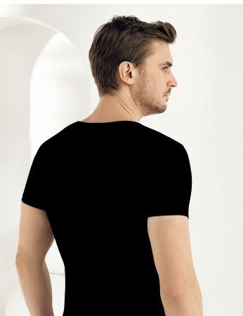 Sahinler Lycra Supreme Singlet V Neck Short Sleeve Black ME073