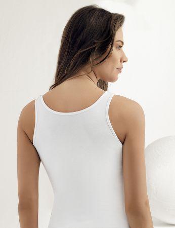 Sahinler Lycra Unterhemd Dekolleté aus Spitze weiß MB1006