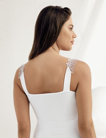 Sahinler Lycra Unterhemd mit Guipure-Stickerei weiß MB1008