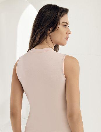Sahinler Lycra Unterhemd mit Rollkragen ohne Ärmel rosa MB1009
