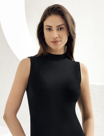 Sahinler Lycra Unterhemd mit Rollkragen ohne Ärmel schwarz MB1009