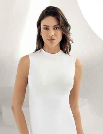 Sahinler Lycra Unterhemd mit Rollkragen ohne Ärmel weiß MB1009 - Thumbnail