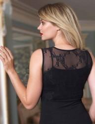 Şahinler - Sahinler Lycra Unterhemd ohne Ärmel oben aus Tüll schwarz MB1007 (1)