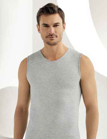 Sahinler Lycra Unterhemd ohne Ärmel und V-Ausschnitt grau ME079 - Thumbnail