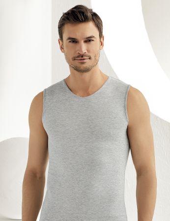 Sahinler Lycra Unterhemd ohne Ärmel und V-Ausschnitt grau ME079
