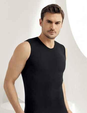 Sahinler Lycra Unterhemd ohne Ärmel und V-Ausschnitt schwarz ME079 - Thumbnail