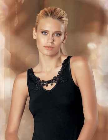 Şahinler - Sahinler Lycra Unterhemd vorne mit Guipure-Stickerei schwarz MB1013
