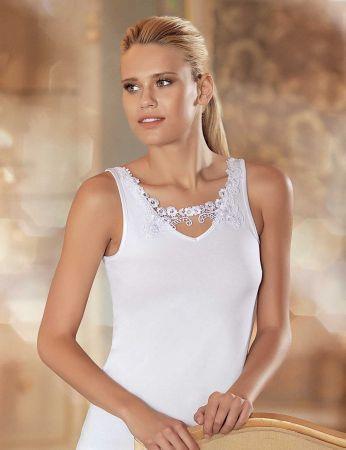 Sahinler Lycra Unterhemd vorne mit Guipure-Stickerei weiß MB1013