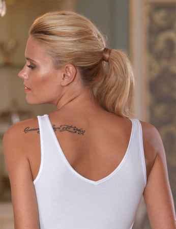 Sahinler Lycra Unterhemd vorne mit Guipure-Stickerei weiß MB1013 - Thumbnail