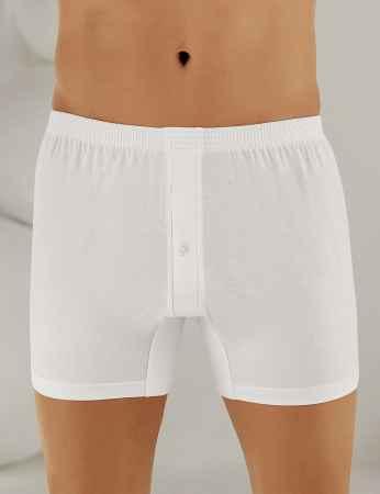 Sahinler Man Cotton Boxer Buttoned White ME010 - Thumbnail